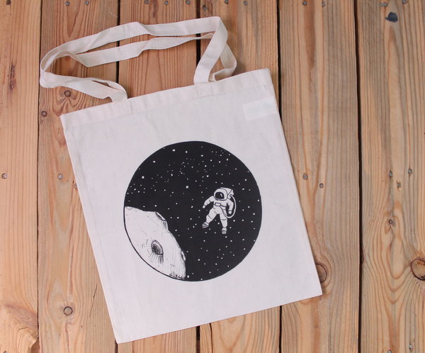 Jutetasche - Fly me to the moon